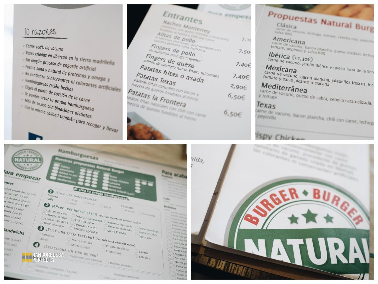Collage Carta Natural Burger